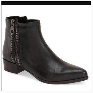 Mimmu Studded Low Heel Zip Booties 39 8.5